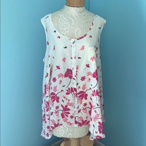 Woman Within SZ 1X Cream Pink Floral Tank Blouse